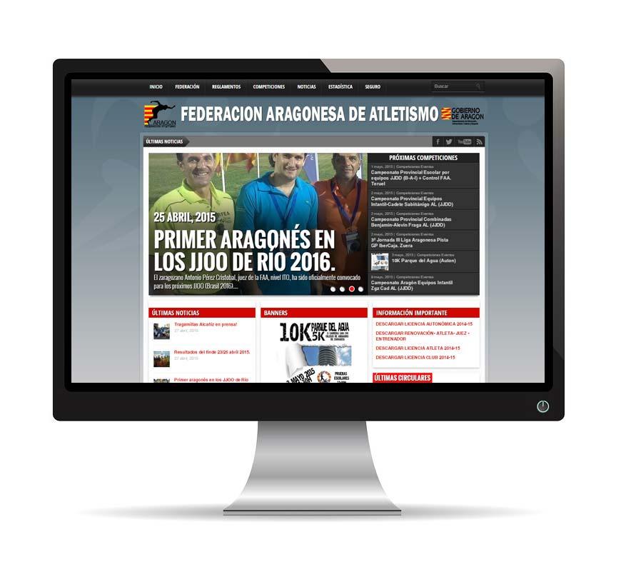 Diseño web para Federación Aragonesa de Atletismo - Msalas Kreación