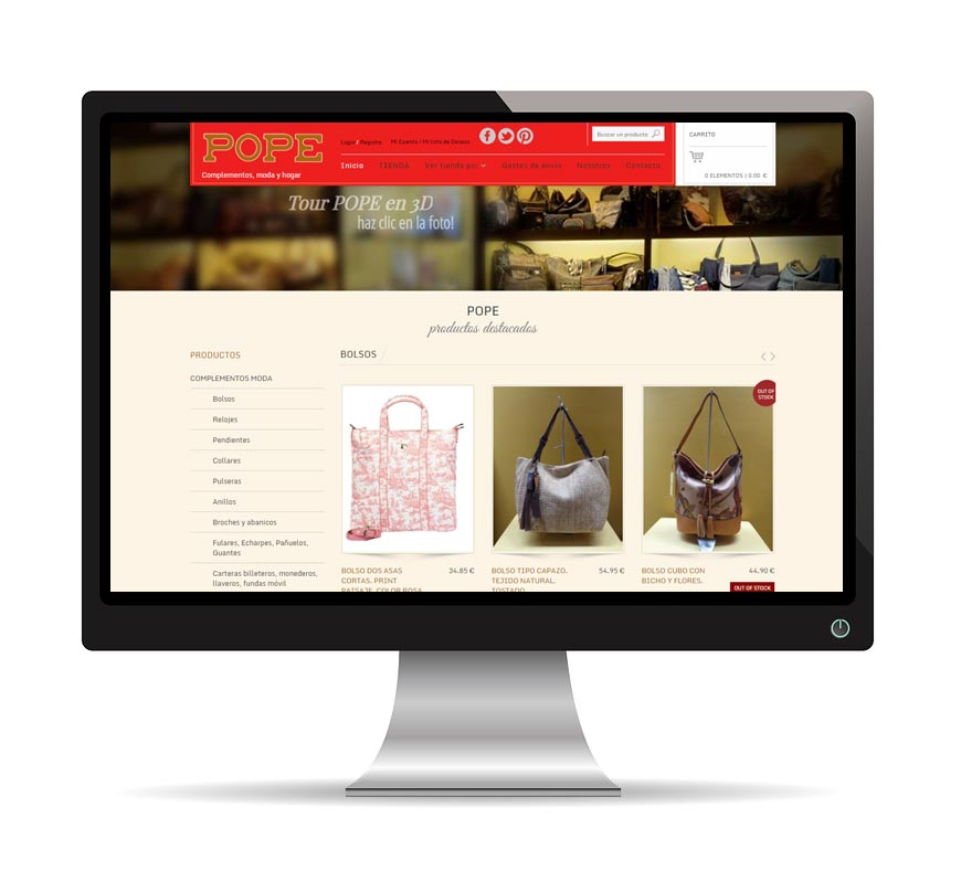 Diseño web para Pope Complementos - Msalas Kreación