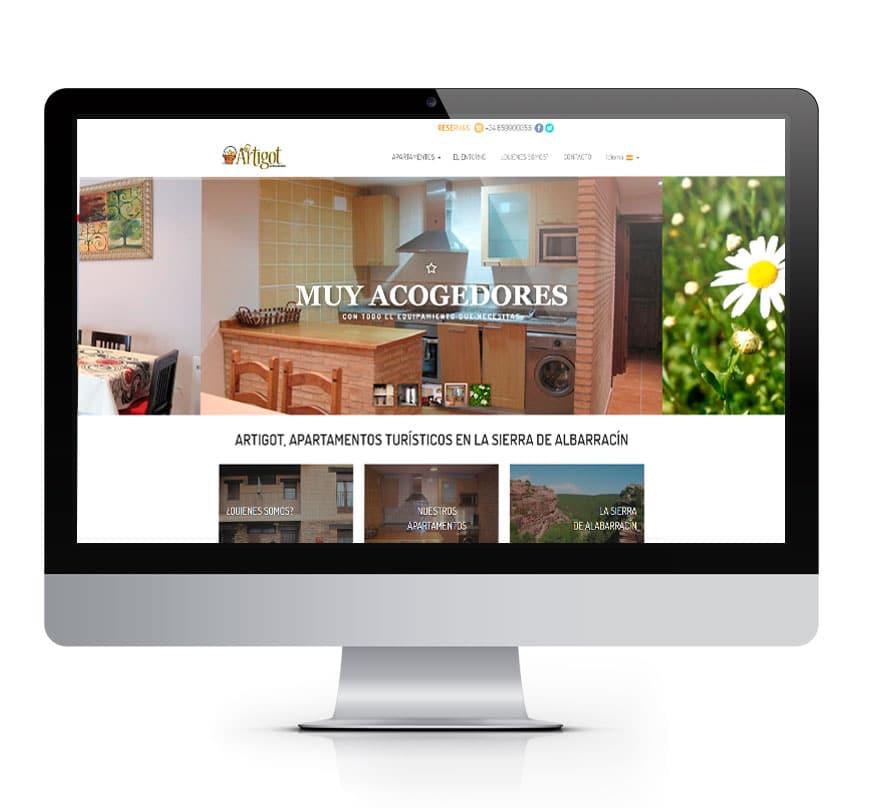 Diseño Web Apartamentos Artigot - Msalas Kreación